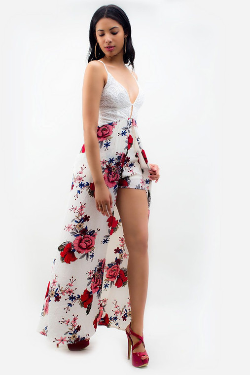 Floral Lace-Up Maxi Romper