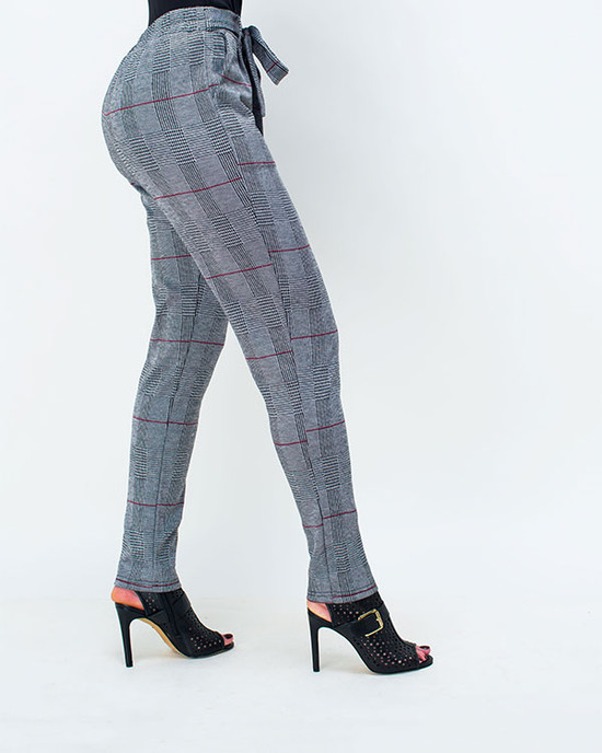 High  Waisted  Plaid  Sash  Waist  Women Pant
