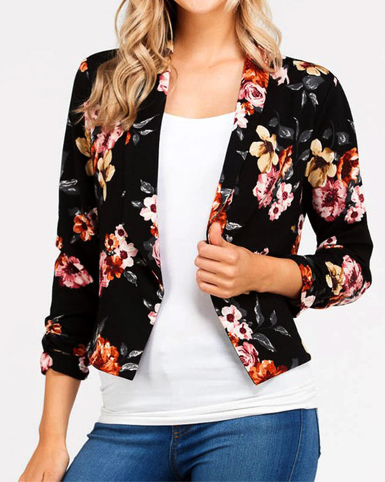 Early Spring Three Quarter Sleeves Floral Print Blazer