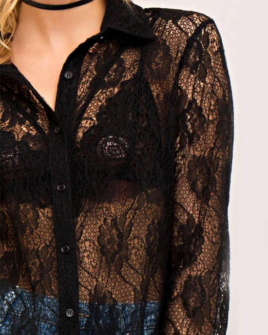 Goddamn Lace Button-Down Longe Sleeve Shirt Black