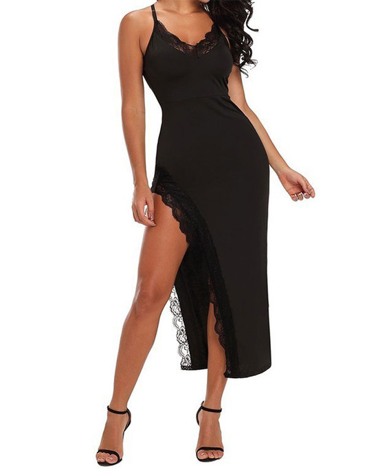 Spaghetti Lace Trim Slit Dress - Black