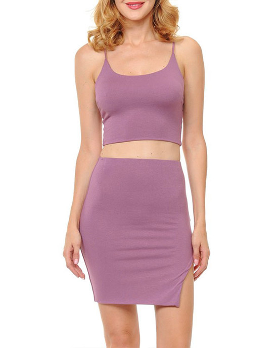 After Party Spaghetti Strap Crop Top W/ Mini Skirt