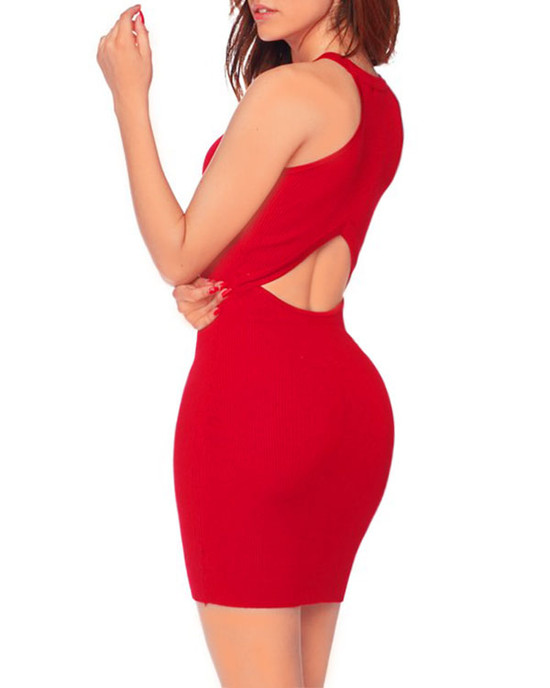 Thicc Cute Open Back Halthered Mini Dress - Red