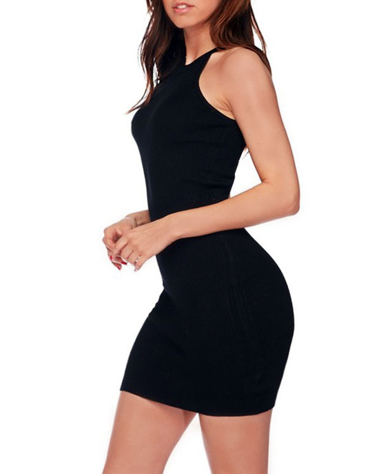 Thicc Cute Open Back Halthered Mini Dress - Black