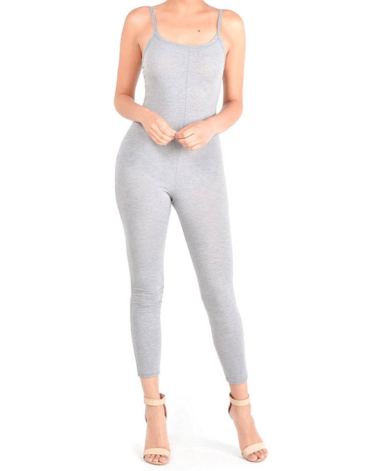 Dank Jumpsuit Basic Solid Sexy Ribbed Grey