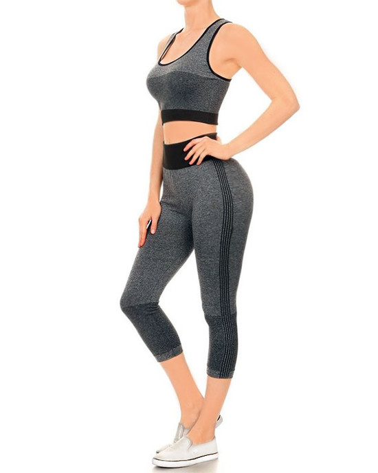 Yass Gurl Blocked Active Sleeveless-Crop Top Legging Black Grey