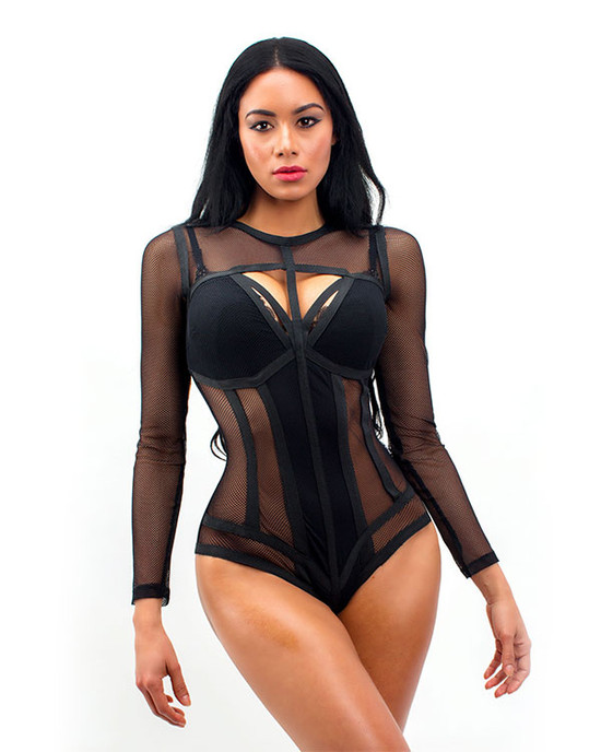 Love Potion Fishnet Pop BodySuit Black