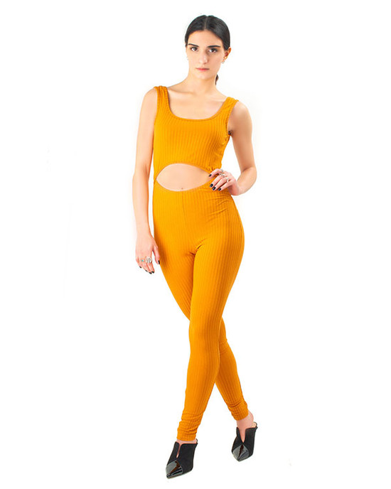 Going Dutch JumpSuit Catsuit Casual Party Solid Ribbed Must