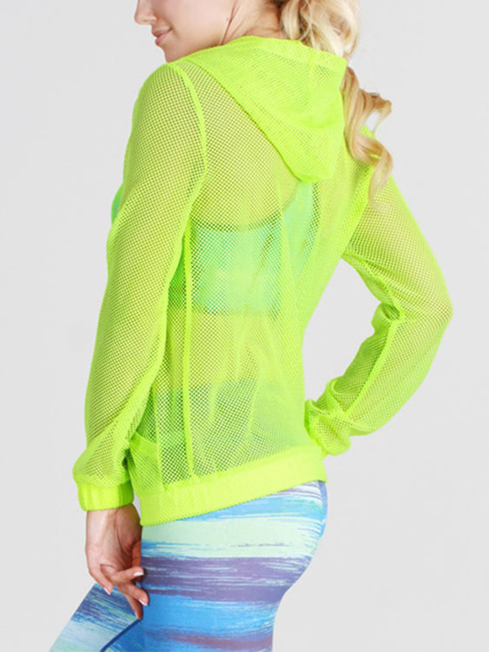 Punch Line Fishnet Hoodie Jacket Neon Orange