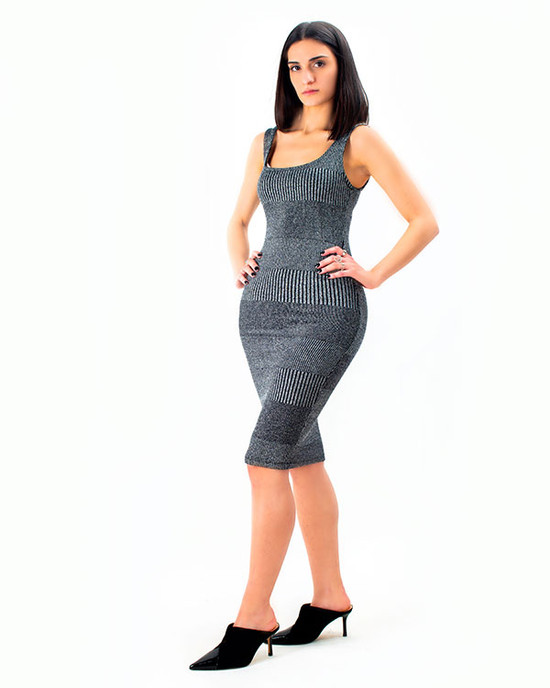 Miami Love Shadow Stripe Metallic Dress Black