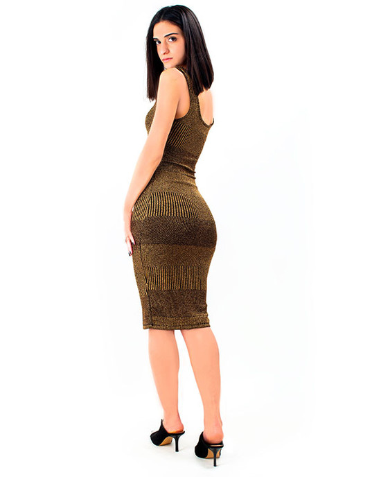 Miami Love Shadow Stripe Metallic Dress Gold