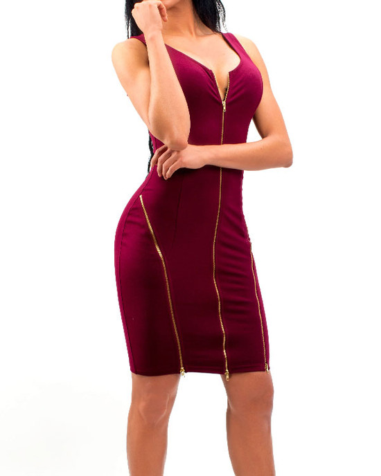 Zipp Up Bodycon Dress With Zipper Detail  Burg