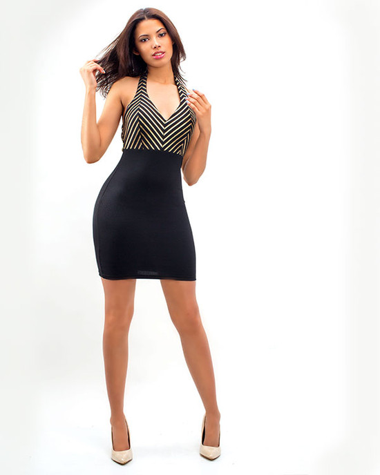 Super Latina Semeless  Dress With Gold Detail Black