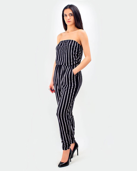 Bahama Striple Less JumpSuit White