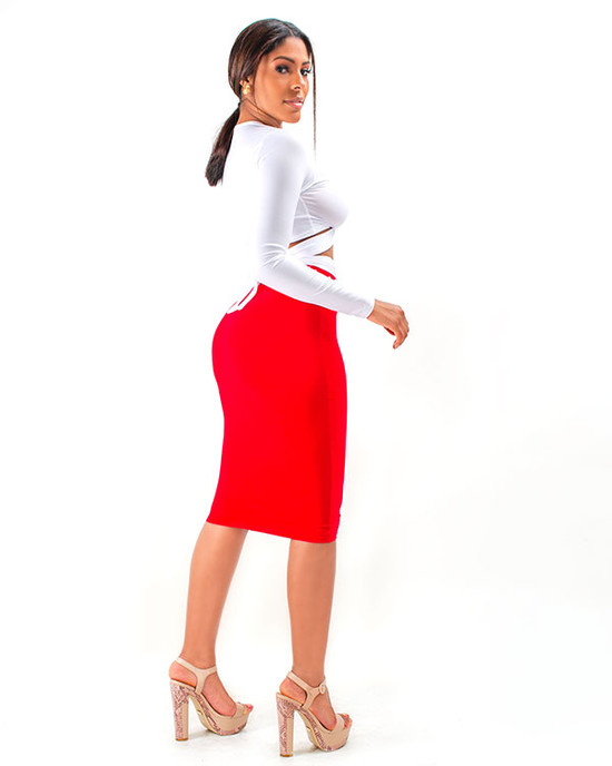 Fine Women BodyCon Set White And Red
