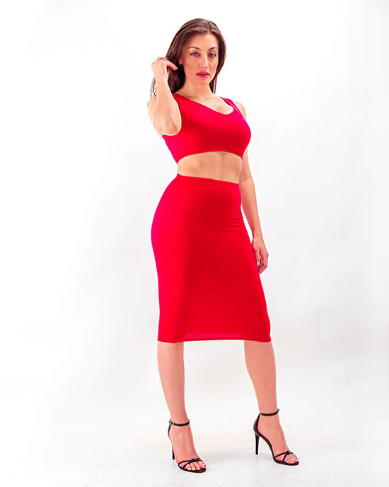 Miss Bodycon Two Piece Crop Top & Pencil Skirt Red