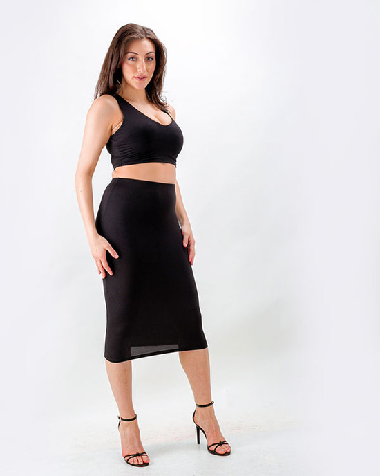 Miss Bodycon Two Piece Crop Top & Pencil Skirt Black