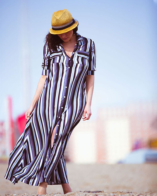 Miami Striped Button Down Maxi Dress