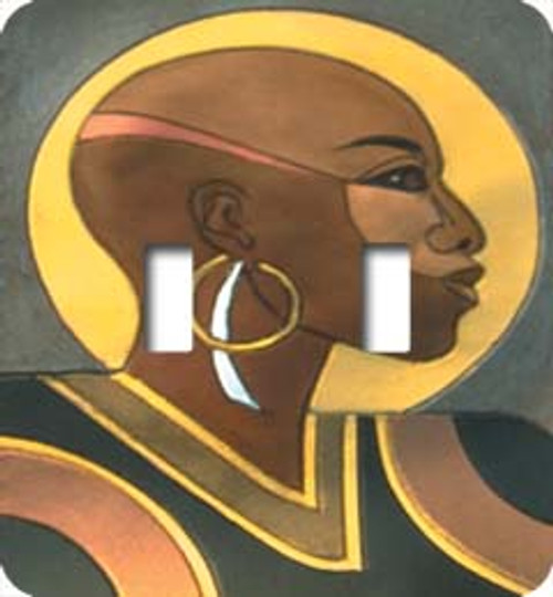 Bald Woman Double Switch Plate (African American Double Switch Plate)