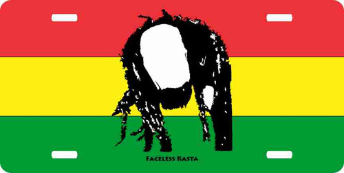 Faceless Rasta-Color License Plate