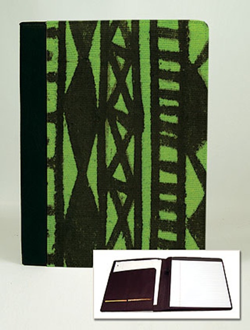 Mudcloth-Lime Padfolio Notebook