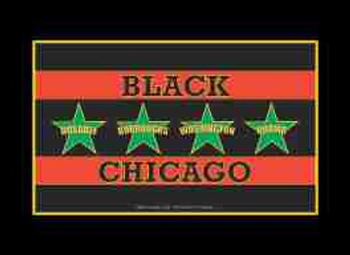 Black Chicago Flag Refrigerator Magnet (African American Magnet)
