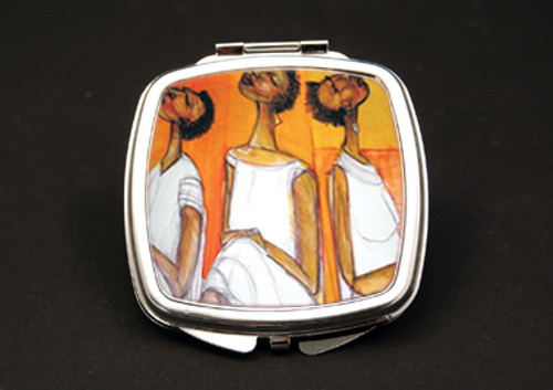 In Thought Dual Mirror Compact (African American Dual Mirror Compact)