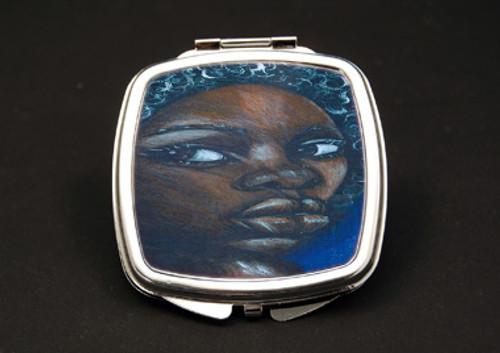 Ebony Girl Dual Mirror Compact (African American Dual Mirror Compact)