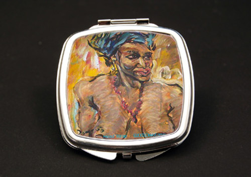 Head Wrap Dual Mirror Compact (African American Dual Mirror Compact)