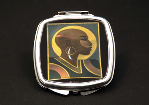 Bald Woman Dual Mirror Compact (African American Dual Mirror Compact)