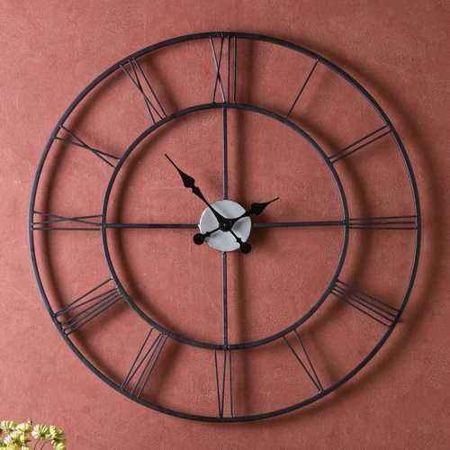 Oversized 30-inch Black Wall Clock with Roman Numerals Q280-COBWC6435
