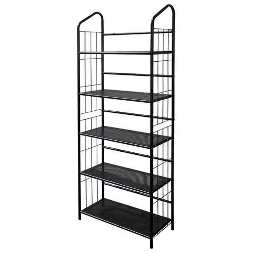 5-Tier Bookcase Storage Shelves Rack in Black Metal Q280-OI5TMB6822