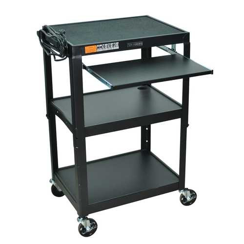 Mobile Stand Up Computer Desk Workstation Cart in Black Steel Q280-BCSMWR12781