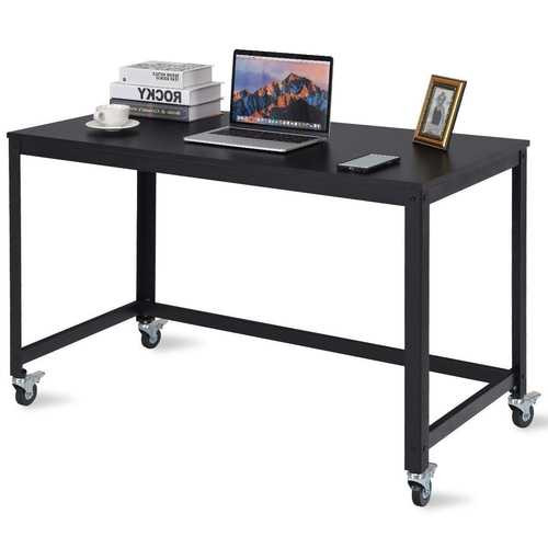 Mobile Steel Frame Laptop Computer Desk with Black Wood Top and Locking Casters Q280-BLTDOW8957416
