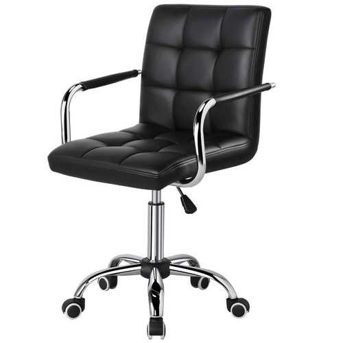 Modern Mid-Back Black Faux Leather Office Chair with Removable Arms Q280-BMDHETU747842