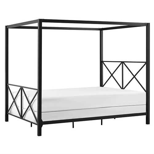 Queen size Modern Black Metal Four-Poster Canopy Bed Frame Q280-DQMPCYC569871