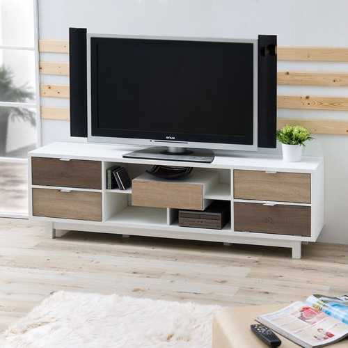 Modern 70-inch White TV Stand Entertainment Center with Natural Wood Accents Q280-EMTVS70968541