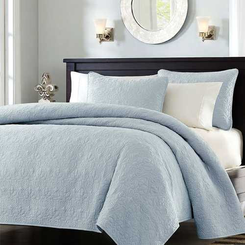 Full / Queen size Quilted Bedspread Coverlet with 2 Shams in Light Blue Q280-FQLB688414