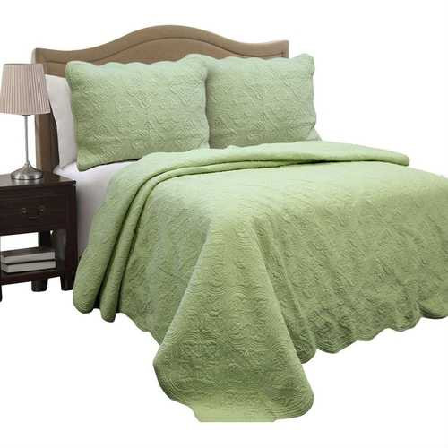 Full Queen Green Cotton Quilt Bedspread with Scalloped Borders Q280-FQPMHA569881