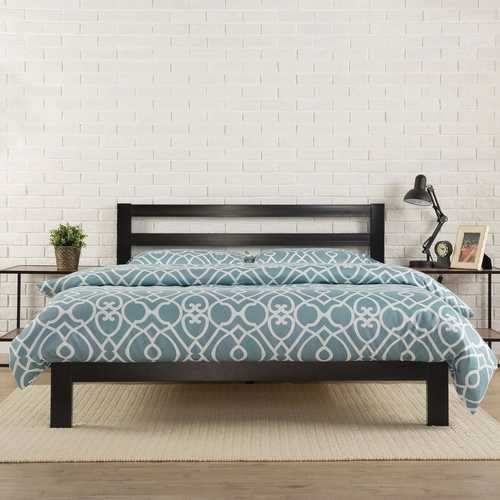 King size Heavy Duty Metal Platform Bed Frame with Headboard and Wood Slats Q280-KMPBFC574692