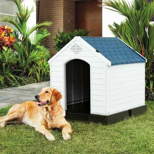 Medium size Dog House Outdoor White Blue Plastic with Elevated Floor Q280-MCHEYIW48687714