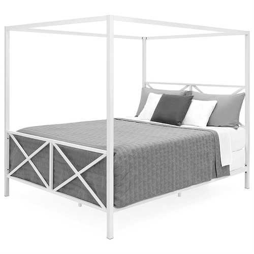 Queen size Modern Industrial Style White Metal Canopy Bed Frame Q280-MCSBCB5939814
