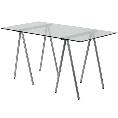 Modern Clear Tempered Glass Top Writing Table Computer Desk with Metal Legs Q280-MFGTCD75369312