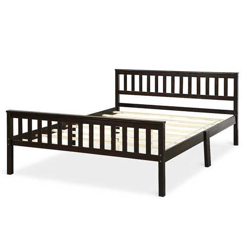 Queen Wood Platform Bed Frame with Headboard and Footboard in Espresso Q280-QSPBFEPW18462791
