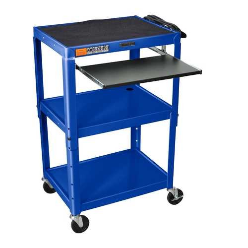 Mobile Stand Up Computer Cart Workstation Desk in Royal Blue Q280-RBMCW127810
