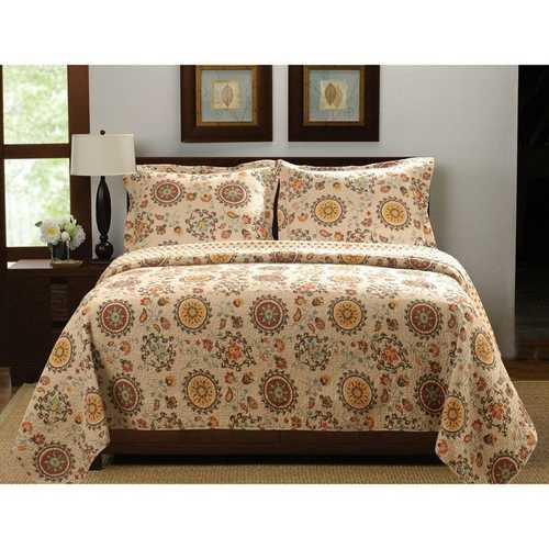 Full / Queen Retro Moon Shaped Floral Medallion Reversible 3 Piece Quilt Set Q280-RMSGHFFQ45