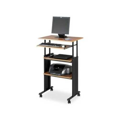 Adjustable Height Stand Up Office Desk in Medium Oak Q280-SWS26021MO