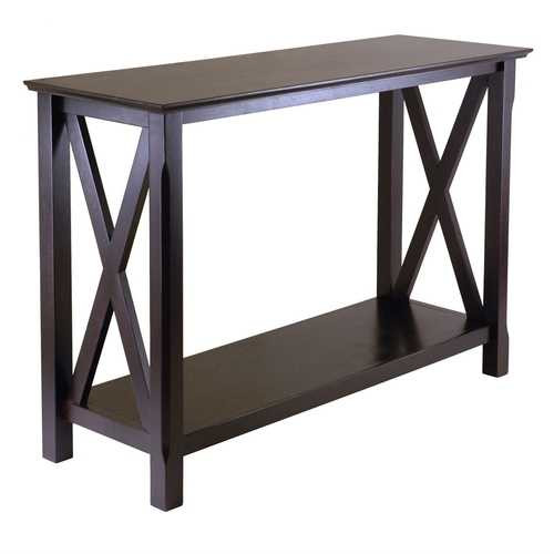 Cappuccino Brown Wood Console Sofa Table with Bottom Shelf Q280-WCTXP1838957