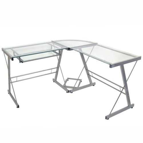Modern Corner Computer Desk in Metal and Glass Q280-WS3CDS89