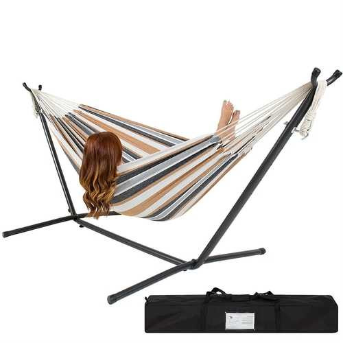 Portable Cotton Hammock in Desert Stripe with Metal Stand and Carry Case Q280-BCDSMCIH892812